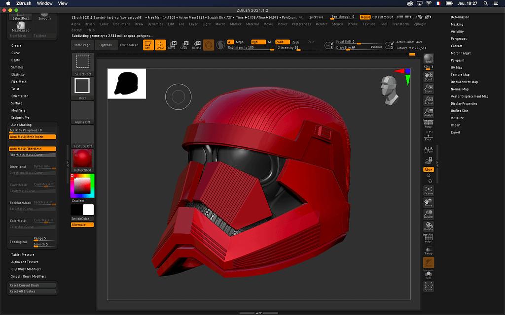 Extrait de la formation ZBrush - Hard Surface par Nicolas Delille sur la création d'un casque Sith de l'univers StarWars